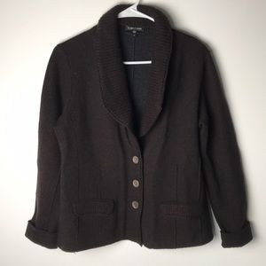 Eileen Fisher merino wool brown thick cardigan M